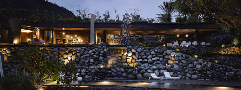 The stone house looks spectacular and dramatic