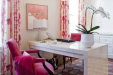 08 a hit pink velvet chair and floral curtains for a bold look