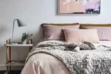 10 blush bedding and a cool blush picture add a soft feel to the space