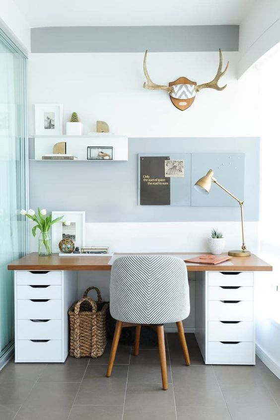 modern white desk with lots of storage space and a wooden top