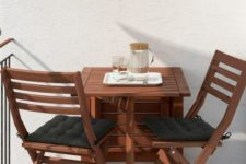 11 Ikea Applaro table and two folding chairs allow you to adjust the table size according to your space and needs