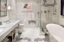 11 White marble is a great material to make this space refined and textural