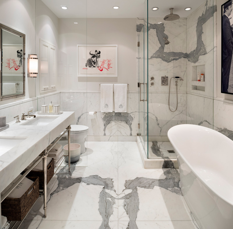 White marble is a great material to make this space refined and textural