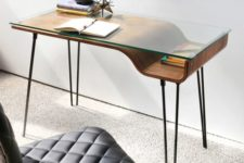 13 minimalist desk with a glass top and a storage spaace underneath