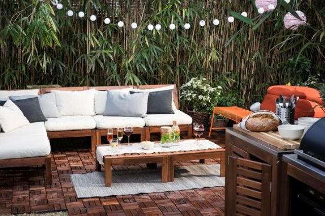 Stylish Ikea ÄpplarÖ Patio Furniture With Modern Pillows And Upholstery