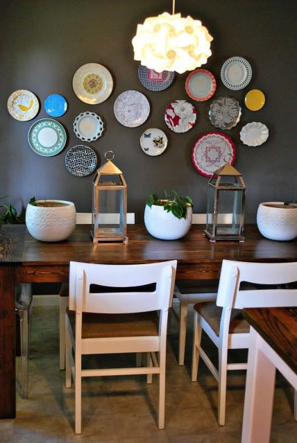 colorful plate wall for the dining area