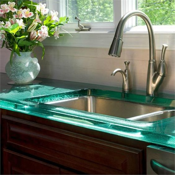 green glass kitchen countertops look stunning and unique
