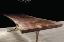 14 rough wooden table with silver metal legs