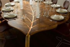15 refined wooden leaf dining table with gold details looks just wow