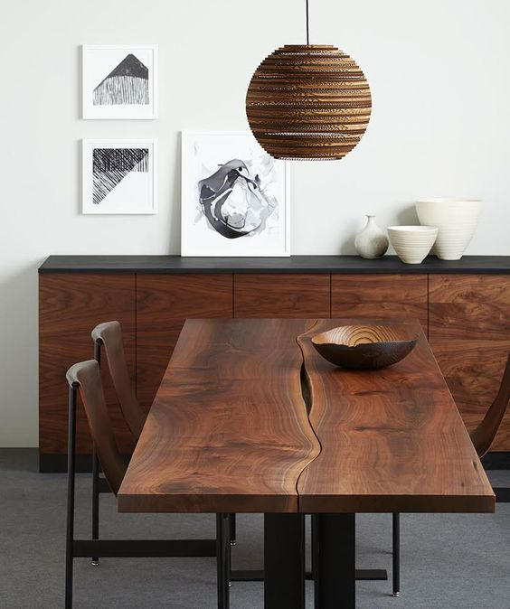 walnut reverse matched tabletop with black steel i-beam base