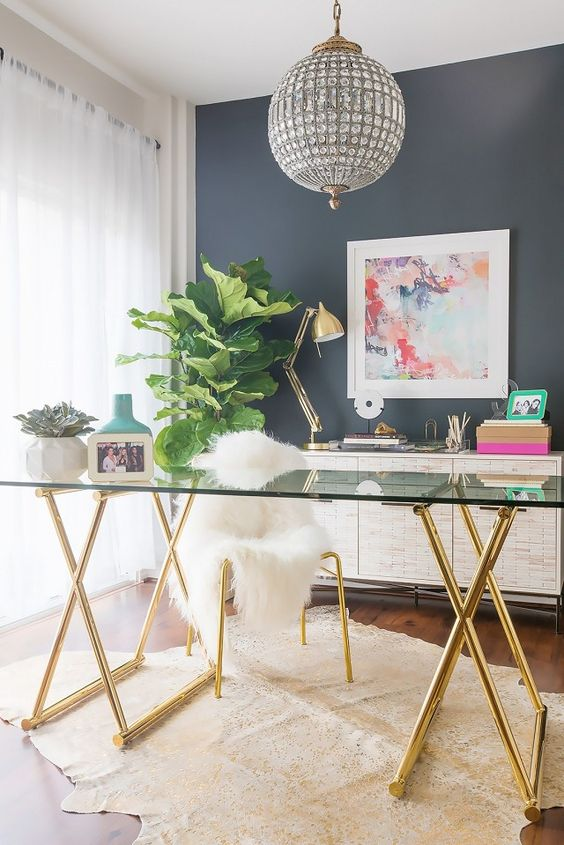 a gorgeous crystal sphere chandelier for a glam home office