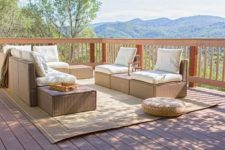 20 a terrace furnished with Ikea Arholma and a wicker ottoman