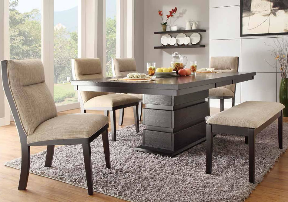 a wooden table with a creative table legs and a double height top