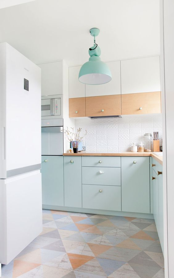 mint-colored cabinets, light-colored and white ones together create a cool look