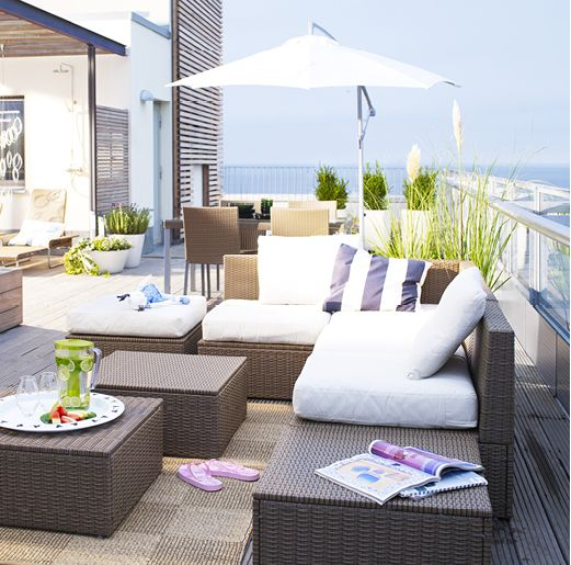 Arholma set with a sofa, benches and stools is an ideal thing for a modern terrace