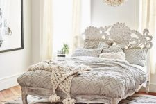 22 adorable shabby chic refined wooden bed with a carved headboard and legs