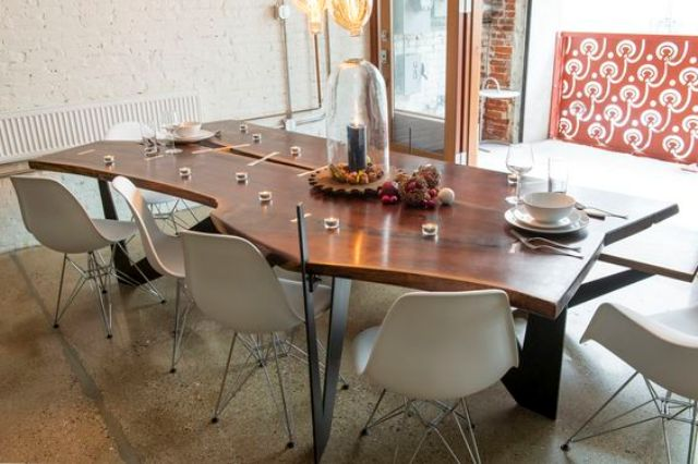 live edge dining table will aadd a chic natural touch to the space