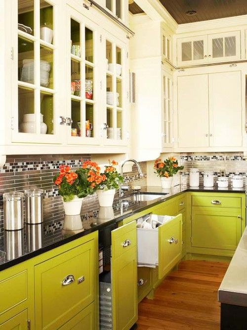 lime green and creamy cabinets create a bold combo