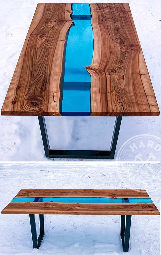Beau Beautiful Dining Table Made Of Wooden Slabs Elm With The Live Edges And Of  The Glass