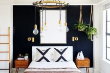 26 hanging plants over one side of the bed make the room more inviting