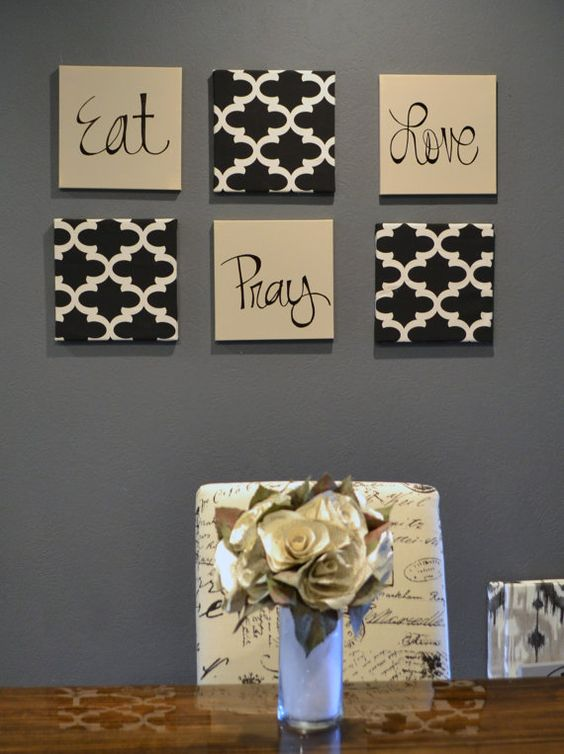 a composition of signs and patterned tiles