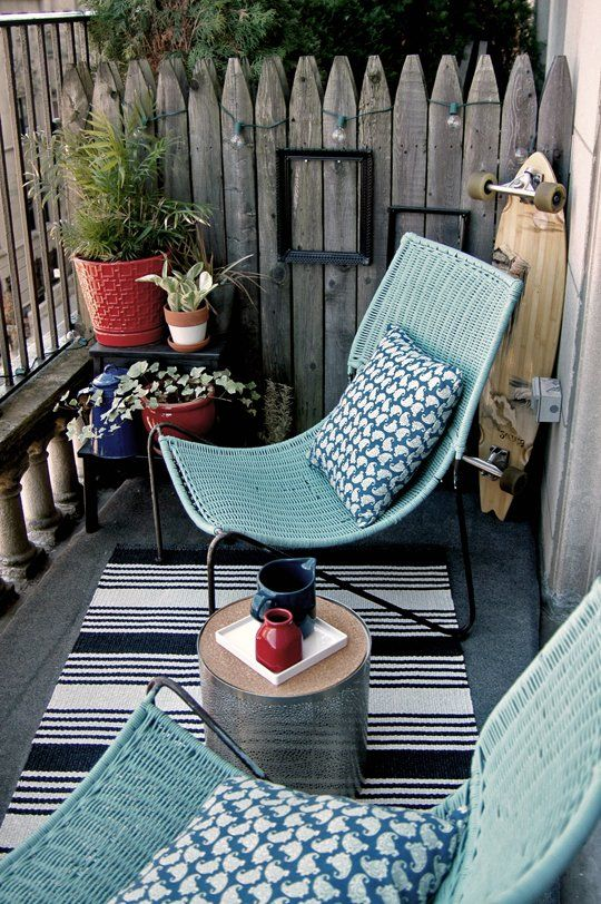 Ikea Bekvam stools in powder blue can be used on a balcony