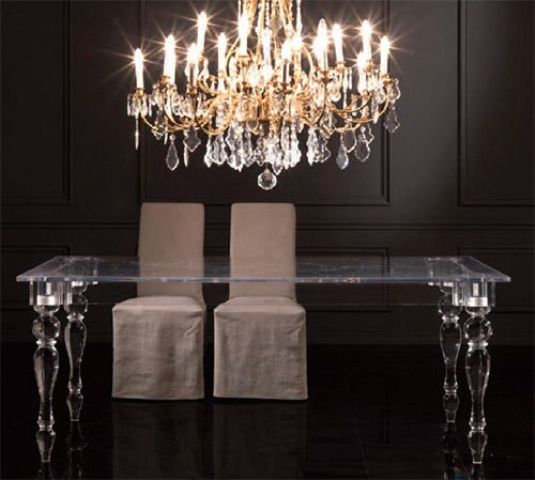Lucite dining table looks modern and cool, and it's a trendy material