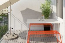 31 VÄSTERÖN benches by Ikea in bold orange bring cheer to this space