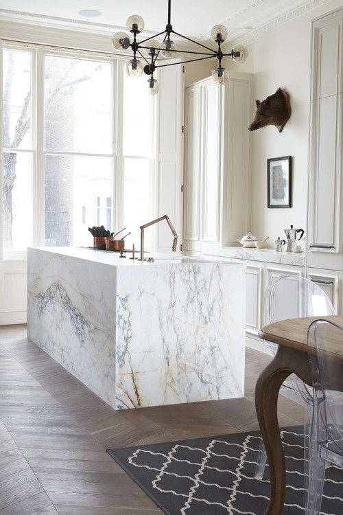 a chic marble kitchen island will make any kitchen exquisite