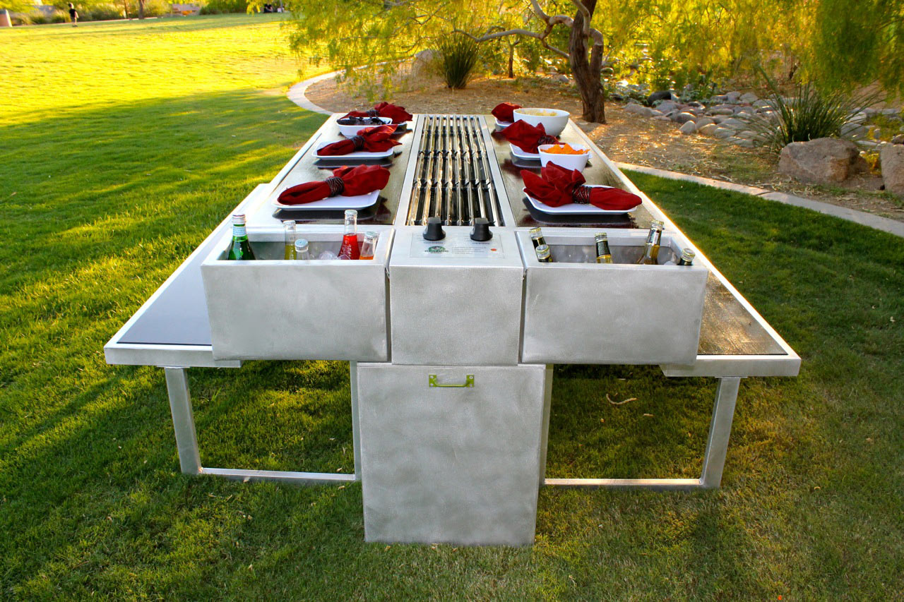 the Grazing Grill table with a grilling surface in the center