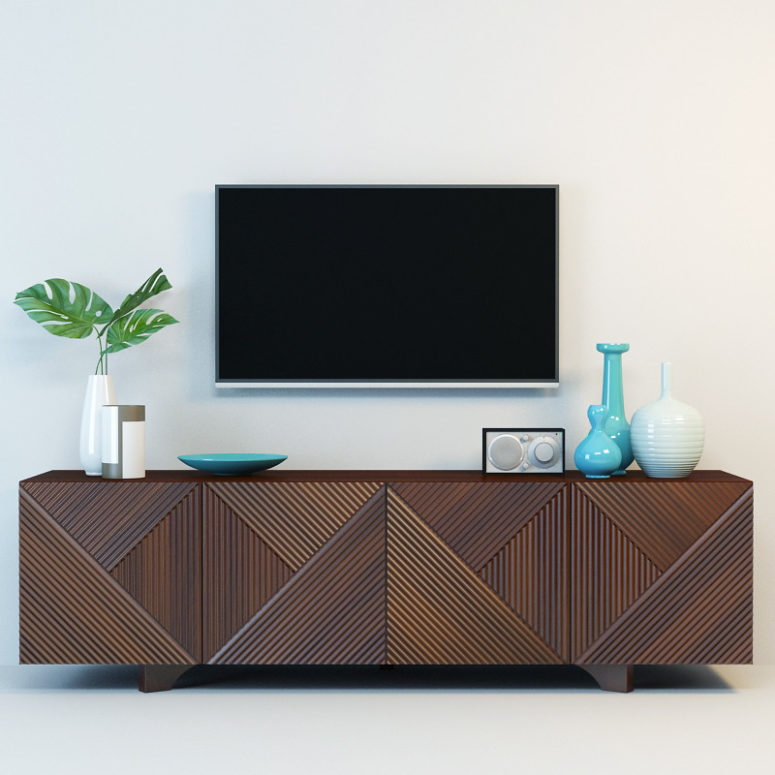 geometric wooden media console by Rosanna Ceravolo (via https:)