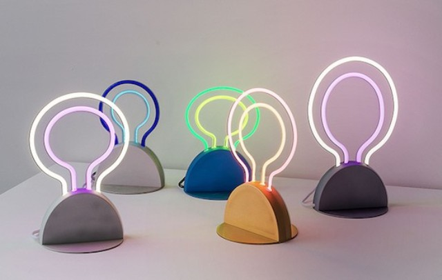Group 18 is a neon light made for your home, it's like a sign and a table lamp in one, a funky idea for a modern space