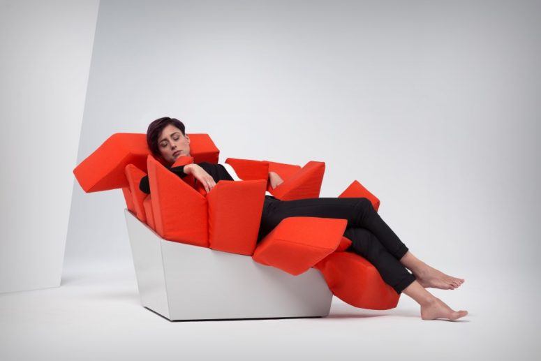 Manet chair looks geometric and harsh but it's super soft and comfortable, it bends and hugs you as soon as you lie on it
