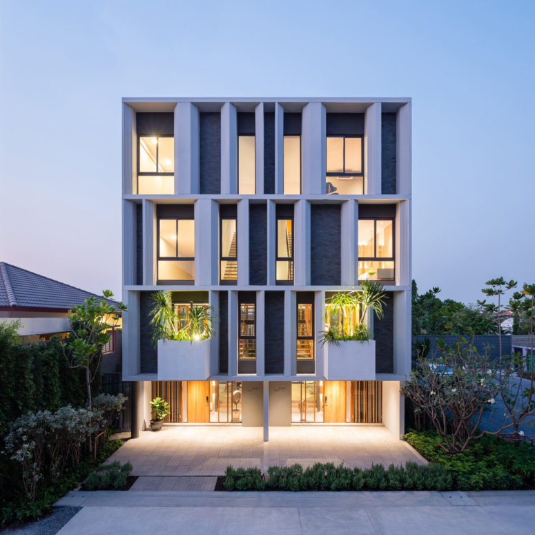 Modern luxurious townhouse with a private garden digsdigs for Townhouse architecture designs