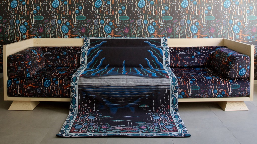 This unique sofa and textiles were inspired by the Iceland landscapes described by famous singer Bjork