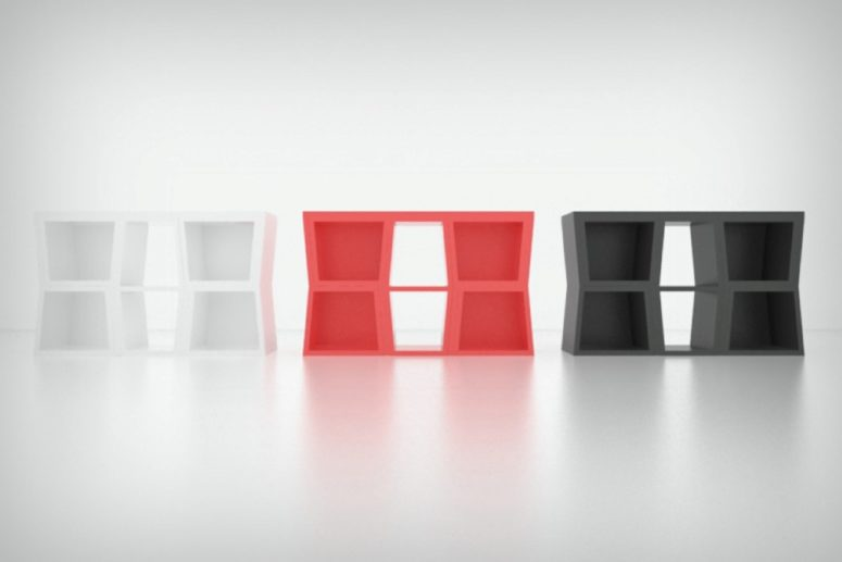 Ubik furniture combo is a unique idea comprising storage space and a table with chairs when you need them, and all of that won't take much space