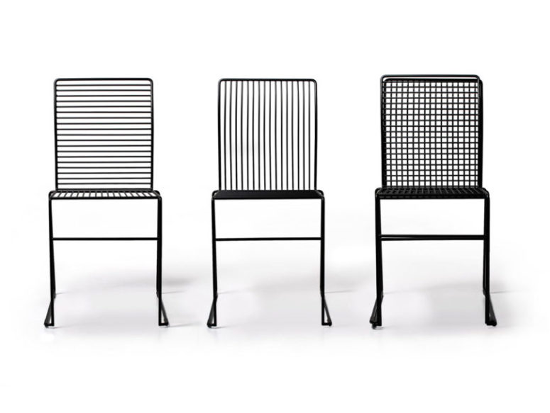 Liquorice chairs are made of steel and have different design, vertical, horizontal or both types of stripes