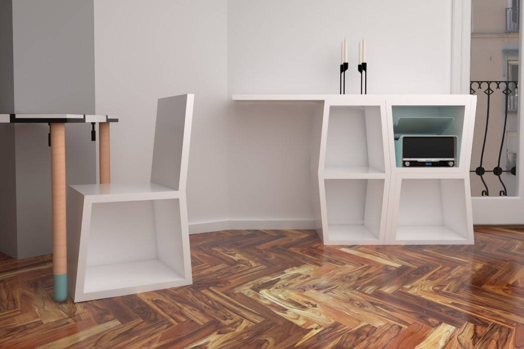 The furniture is made of melamina, a modern functional and durable material and is available in three colors to fit any modern space