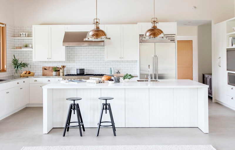 large, all white kitchen island design