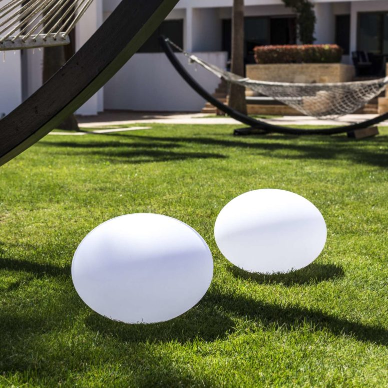 The piece is rechargeable and color-changing, and it can be placed anywhere, from your dining table to the grass around your pool