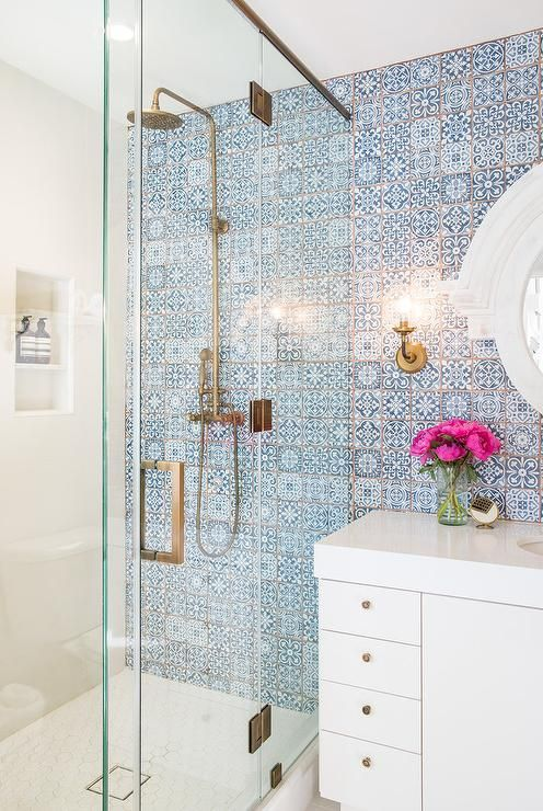 beautiful blue mosaic tiles to highlight the shower wall