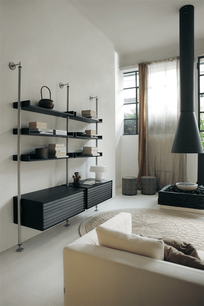 The Ubiqua Modular System has a beutiful base unit and some shelves on a metal structure
