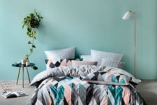 03 bold triangle duvet and pillows and calm pastel ones for more comfort