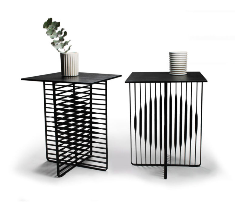 The Sun and Moon tables represent these two things with flat steel bars, such an interesting solution