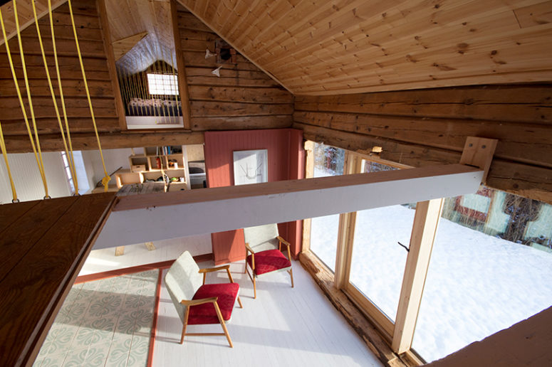 The loft and the ground floor have been combined to make one airy space