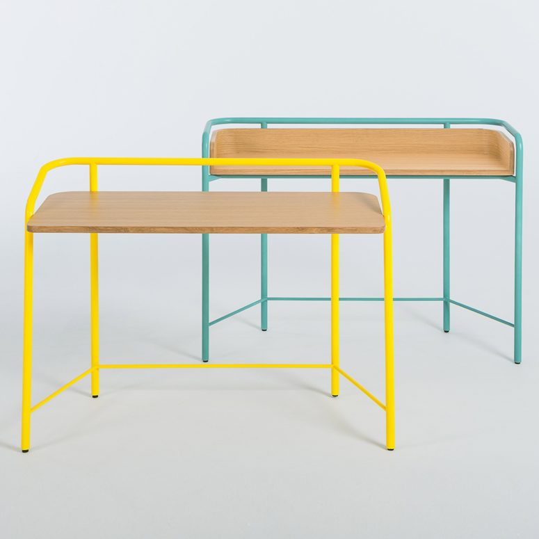 the small desks have the similar colorful parts but these are metal tubes