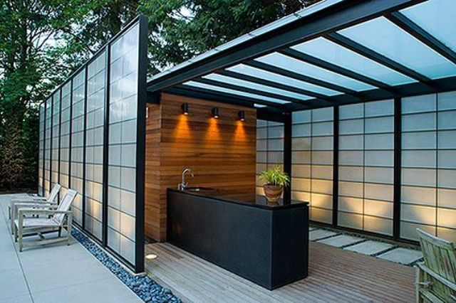 wall lights over the outdoor kitchen island to cook more comfortably