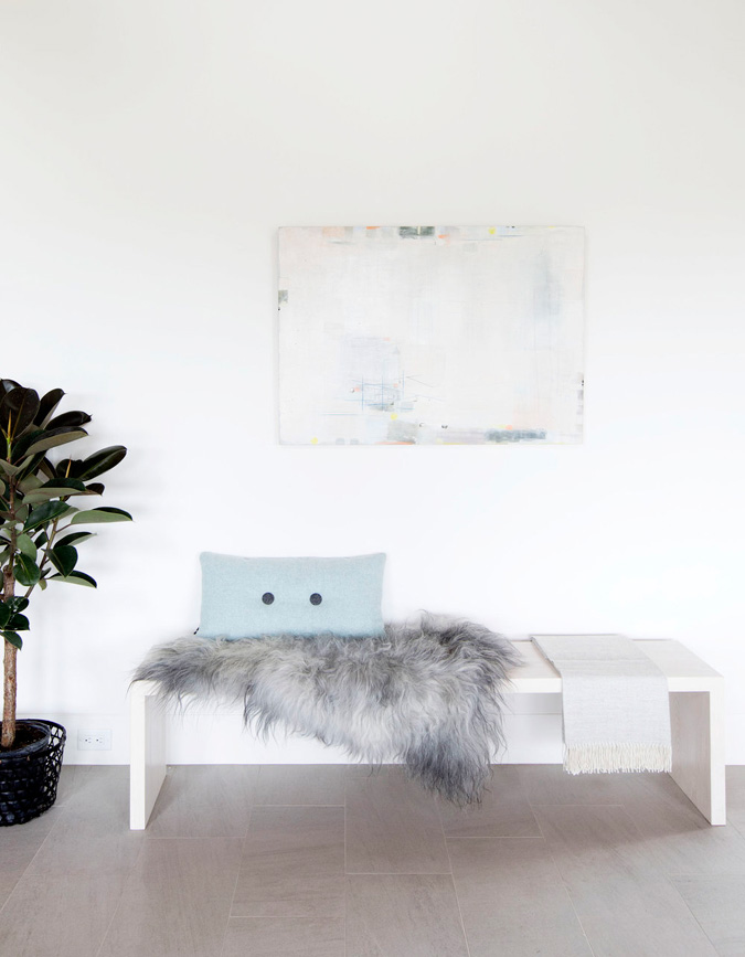 Textures add to the decor of this home, fur, stone, wood, greenery and pastel shades make it comfy