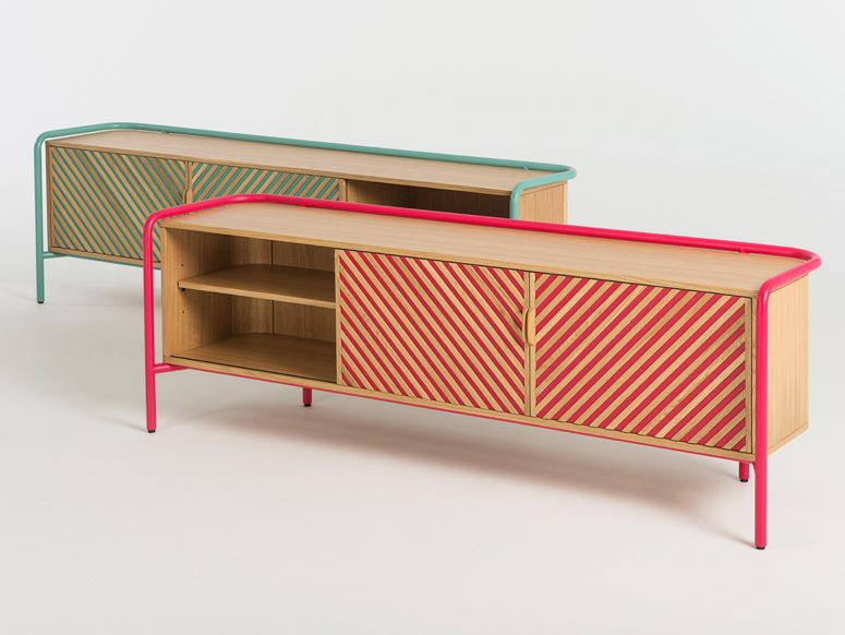 The colorful patterns of these pieces echo with the colorful tubing for a chic look