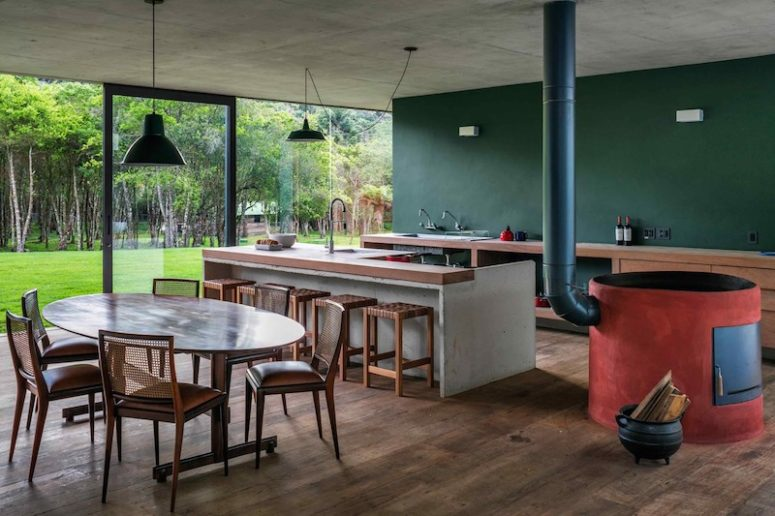 The ground floor has a large open plan, and it houses social spaces like the kitchen, dining or living space
